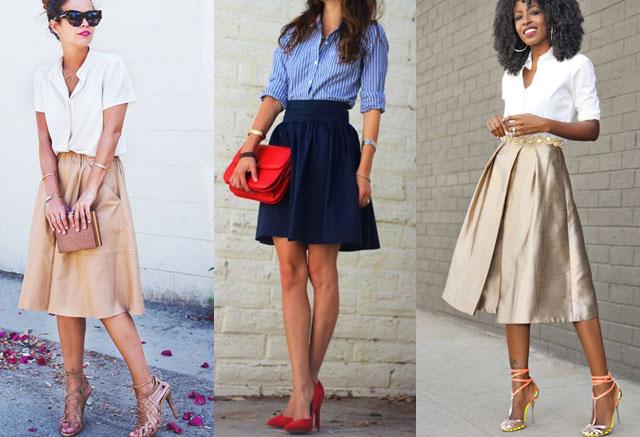 chân váy kết hợp với sơ mi đẹp