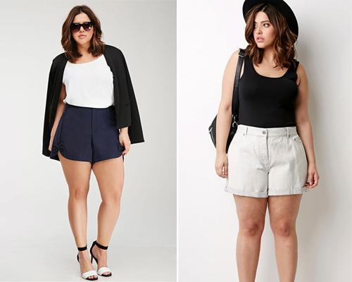 cách phối đồ với quần short cho nữ mập