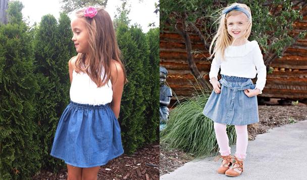 phối đồ với chân váy xòe cho bé gái