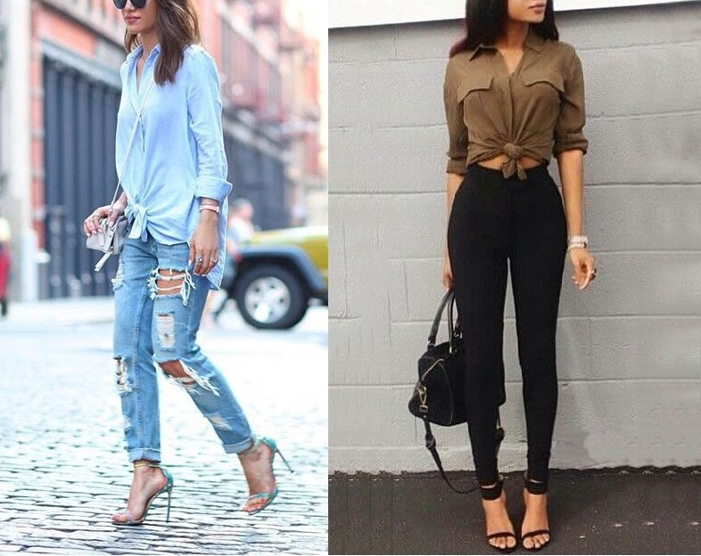 cách kết hợp áo sơ mi và quần jean nữ