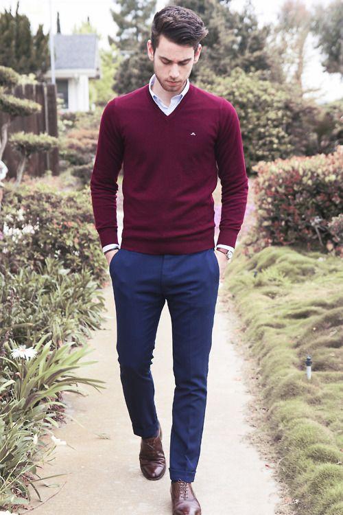 chọn quần áo kết hợp với giày màu nâu đỏ